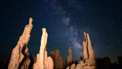 Stock Video Footage of 3 Axis Motion Control Astro Time Lapse of Milky Way & Tufa at Mono Lake Zoom Out