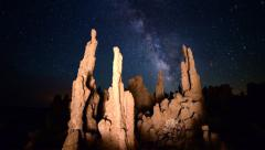 3 Axis Motion Control Astro Time Lapse of Milky Way over Tufa at Mono Lake - stock footage