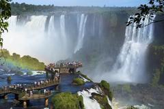 Tourists at Iguazu Falls, Foz do Iguacu, Brazil Stock Photos