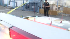 Police Wide with Body Bag and Crime Scene tape Stock Footage