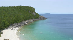 Bruce Peninsula National Park. Cliffs and water. Stock Footage