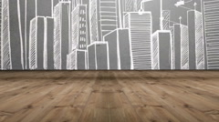 Businesswoman looking at cityscape doodle Stock Footage