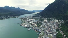 Alaska city helicopter view - stock footage