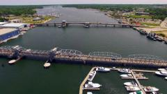 Scenic Aerial View of Sturgeon Bay Wisconsin, Waterfront, Bridges Stock Footage