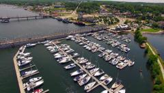 Scenic Aerial View of Sturgeon Bay Wisconsin, Waterfront, Bridges, Canal Stock Footage