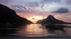 Sunset over El Nido bay in Palawan Stock Footage