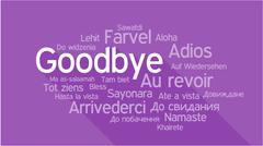 GOODBYE in different languages, word tag cloud - stock illustration