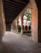Interior cloister of a little curch in Italy - stock photo