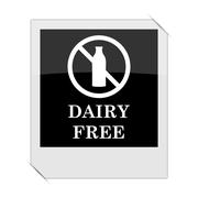 Dairy free icon within a photo on white background. Stock Illustration