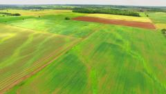 Lush Green Pastures, Fields of Wisconsin, Aerial Flyover - stock footage