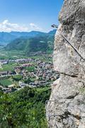 Climbing adventure in the italian mountains near Garda Lake Stock Photos