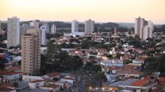 Brazilian city. Traffic. Buildings. Piracicaba city, Sao Paulo state, Brazil.  Stock Footage