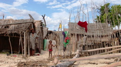 Villagers in a remote fishing village in the south of Madagascar Stock Footage