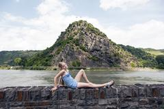 rock of Loreley next to the river rhine in germany - stock photo