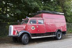 old red fire truck parked in the netherlands - stock photo