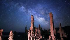 Astrophotography Time Lapse of Milky Way over Tufas in Mono Lake  -Tilt Up- - stock footage
