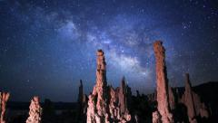 Stock Video Footage of Astrophotography Time Lapse of Milky Way over Tufas in Mono Lake -Tilt Down-