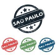 Round Sao Paulo stamp set - stock illustration
