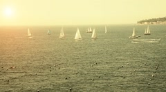 Sailboats in the Bay of Naples - Italy Stock Footage