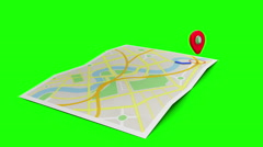 Red marker showing the way on a map of a town Stock Footage