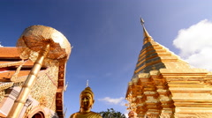 4K. Wat Doi Suthep, Buddhist temple in Chiang Mai Thailand, Stock Footage
