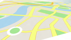 Red marker showing the way by zooming in on a map Stock Footage