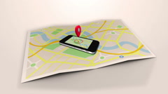 Red marker pointing on a mobile lying on a map surrounded by blue markers Stock Footage