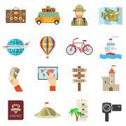 Stock Illustration of Travel Icons Flat