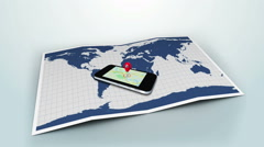 Red marker pointing on a mobile on a world map with lens flare Stock Footage