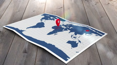 Red pointers on a world map Stock Footage