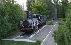 Monument of old steam locomotive, operated during the First & Second World Wars - stock photo