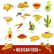Mexican Food Icon Set - stock illustration