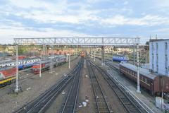 Major train station. Rails stretching into the distance. Flaw detector car - stock photo