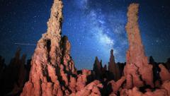 5K 3 Axis Motion Control Astro Time Lapse of Milky Way & Tufa at Mono Lake Stock Footage