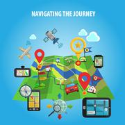 Navigating The Journey Concept - stock illustration