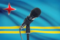 Microphone with national flag on background series - Aruba - stock photo