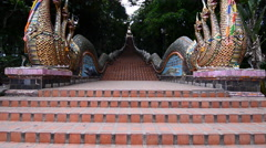 4K Panning Shot :Naga at the stairs of Wat Doi Suthep. Thailand. Stock Footage