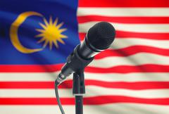 Microphone with national flag on background series - Malaysia - stock photo
