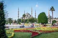 Square near Sultan Ahmet Mosque or Blue Mosque. Istanbul, Turkey - stock photo