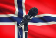 Microphone with national flag on background series - Norway - stock photo