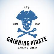 The Grinning Pirate Sailing Crew Abstract Vector Retro Logo Template or Vintage Stock Illustration