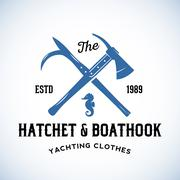 Hatchet and Boathook Yachting Clothes Manufacture Abstract Vector Retro Logo Piirros