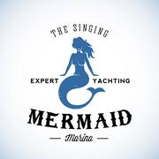 The Singing Mermaid Marina Abstract Vector Retro Logo Template or Vintage Label - stock illustration