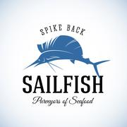Spike Back Sailfish Seafood Purveyors Abstract Vector Retro Logo Template or Piirros