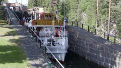Telemark water canal Norway boat in block doors open - stock footage