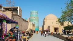 Time-lapse moving to the Kalta Minor Minaret in Khiva Stock Footage