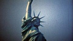 1954: Statue of Liberty and the New York City skyline view. Stock Footage