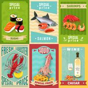 Seafood Poster Set - stock illustration