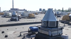 The roof is a huge mall - the air conditioning system and vents Stock Footage