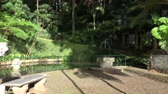 4k Tropical garden Madeira waterfall pond and painted tiles Stock Footage